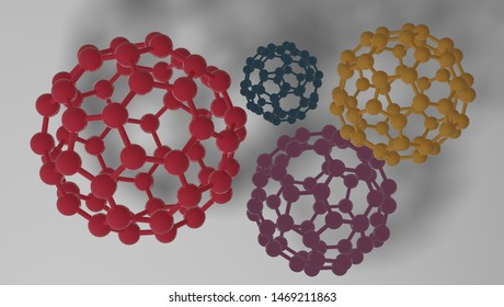 3d designed group of c60 molecules with different colors.