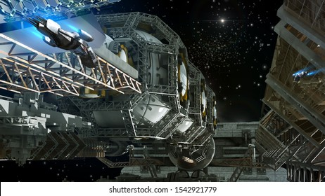 3D detailed close-up illustration of a space station for futuristic interstellar travel or science fiction backgrounds with drones taking off.