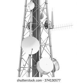3d detailed communication tower, wireless equipment on white background