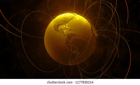 3d detailed render of Earth globe. Technology theme. Complex globe form with arcs that go from one point of planet to other. Internet and information background.
