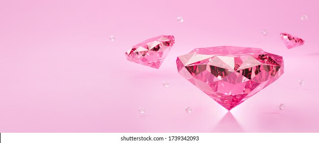 3d diamond jewelry background abstract. Romantic valentines day banner design concept. 3d render for wallpaper, backdrop. gemstones or pink diamonds jewel stone with light sparkle.