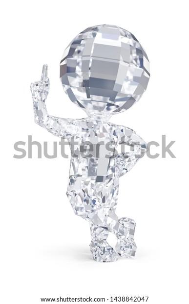 3d diamond man pointing finger up. 3d image. White background.
