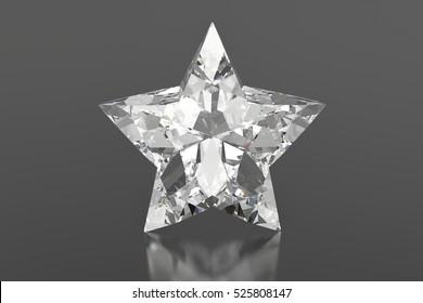 3d diamond star on a gray background