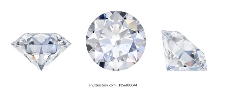 3d diamond in three dimensions. Side view, lying and top. 3d image. Isolated white background.
