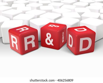 3d dice with word R and D research and development on white background