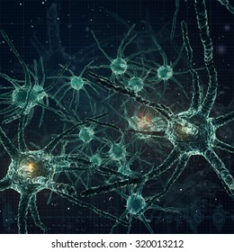 3D. digital illustration of a neuron.