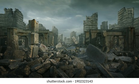 3d digital Illustration of a ruined cityscape with a moody tone.