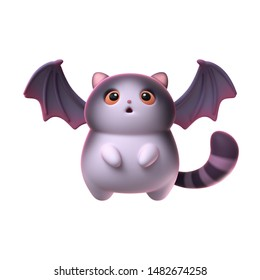 3d digital illustration of surprised kawaii cat bat with open mouth and big eyes isolated on white background. Cartoon fat cat with bat wings and a striped tail floating in the air. Halloween symbol.