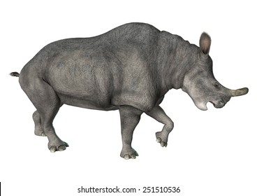 3D digital render of an aggressive Brontotherium isolated on white background