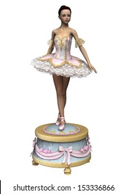 3D digital render of a beautiful female ballet dancer on a vintage music box isolated on white background