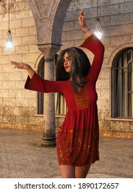 A 3d digital render of a beautiful Indian woman dancing with a short red and gold tunic.