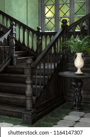 A 3d Digital Render Of A Beautiful Ornate Staircase In Large Old Fashioned  Manor House.