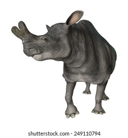 3D digital render of a curious Brontotherium isolated on white background