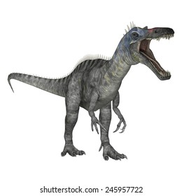3D digital render of a dinosaur Suchomimus or Suchomimus tenerensis isolated on white background