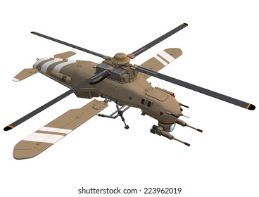 3D digital render of a drone helicopter isolated on white background