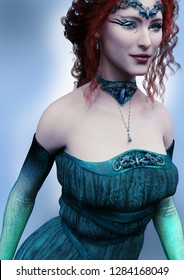 A 3d digital render of an Elven woman wearing a turquoise gown, circlet and choker.