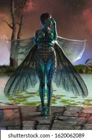 A 3d digital render of a fairy with insect wings and transparent skin. She is standing at the edge of a lily pad pond in the rain.