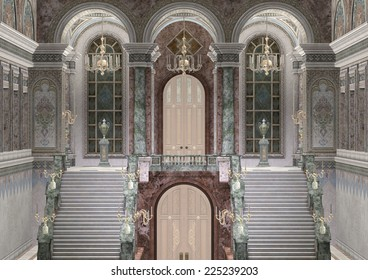 3D digital render of a fairy tale palace entrance