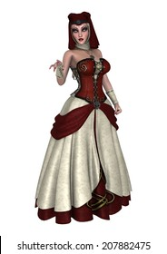 Фотообои 3D digital render of a fantasy female wizard in a red dress isolated on white background
