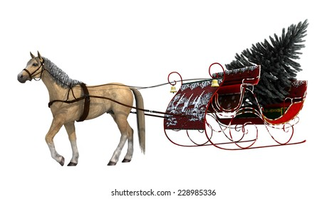 3D digital render of a horse and a vintage Christmas sleigh with a fir tree covered with snow isolated on white background