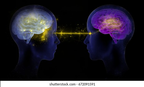 3d digital render illustration of two human brains communicating with each other (telepathy, relationships, emotions, stress between two people, eye contact, inspiration, exchange of ideas or similar)