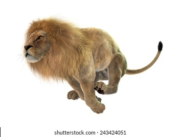 3D digital render of a jumping male lion isolated on white background