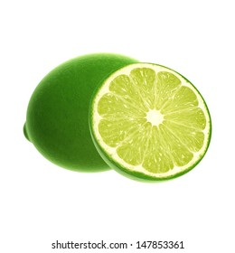 3D digital render of limes isolated on white background