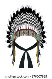 3D digital render of a Native American war bonnet isolated on white background