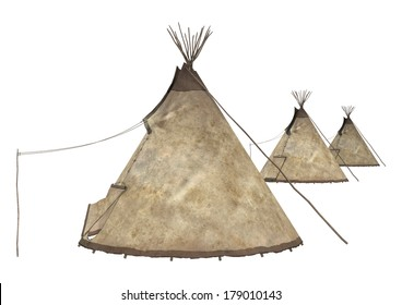 3D digital render of a  native American teepees isolated on white background