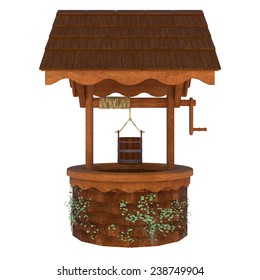 3D digital render of an old wishing well isolated on white background