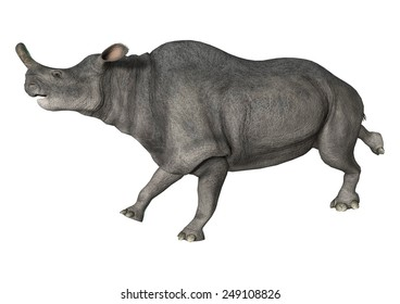 3D digital render of a running Brontotherium isolated on white background