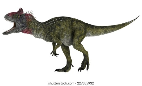 3D digital render of a running dinosaur Cryolophosaurus isolated on white background