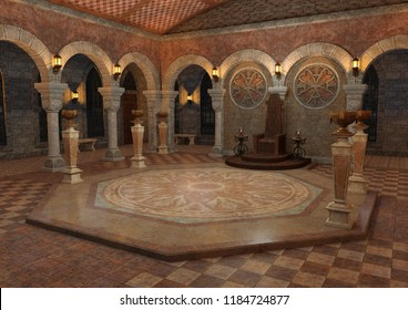 3D digital render of a throne room in a fairy tale medieval castle inside