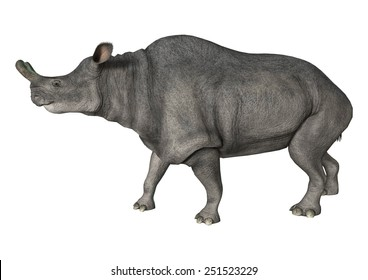 3D digital render of a walking Brontotherium isolated on white background