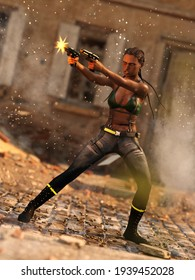 A 3d digital render of a woman shooting pistols in a war zone firefight.