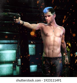 A 3d digital render of a young, fit man aiming a gun.