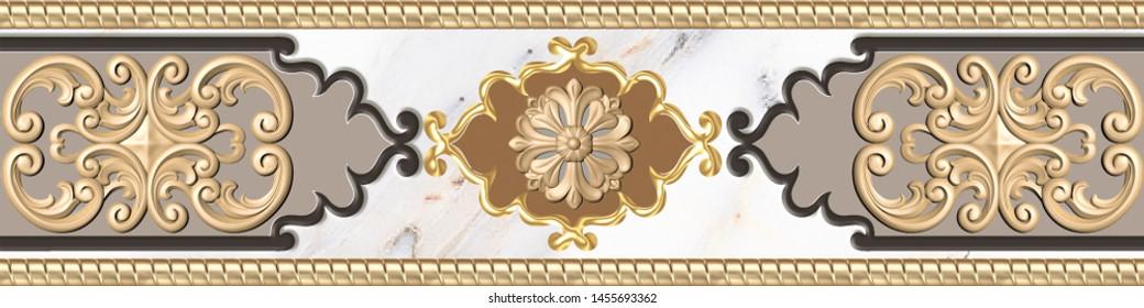 3D Digital Wall Tile Decor For Home,  Arabic Decorative Royal Wall Tile Decor Marble interior Home, 3D illustration. wallpaper, linoleum, textile, web page background.