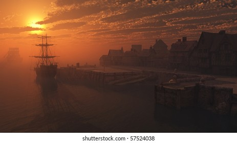 3d Digitally rendered illustration of dockside moorings at sunset with tall ships alongside