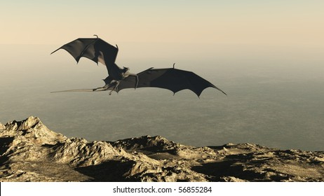 3d Digitally rendered illustration of a dragon flying over a mountain cliff, hunting for it's prey