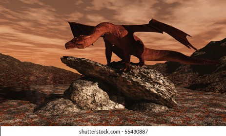 3d Digitally rendered illustration of a red dragon standing on a rocky outcrop in the middle of a lava flow