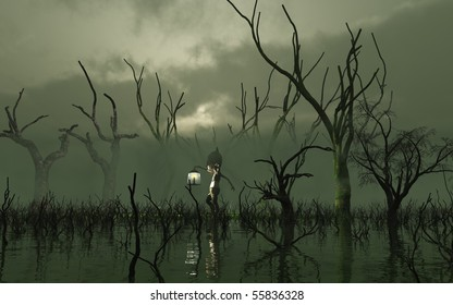 3d Digitally rendered illustration of a Will O' the Wisp carrying a lantern through a misty swamp with dead trees