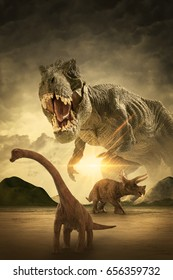 3D dinosaur scene of the dinosaurs fighting each other