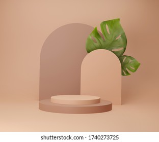 3D display podium with monstera palm leaves. Brown pedestal and pastel beige trendy background. Tropical art deco abstract. Nude color 3d render illustration for branding banner and product promotion