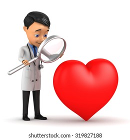 3d doctor examines the heart through a magnifying glass