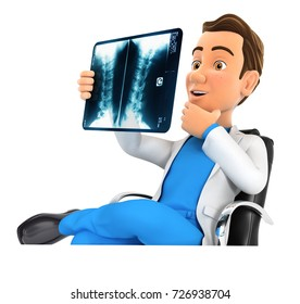 3d doctor looking at x-ray in his office, illustration with isolated white background
