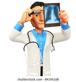 3D doctor looking at an x-ray - isolated over a white background
