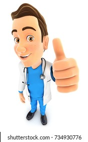 3d doctor positive pose, illustration with isolated white background