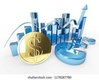 3d dollar money coin financial graphic illustration