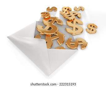 3d dollars in envelope.