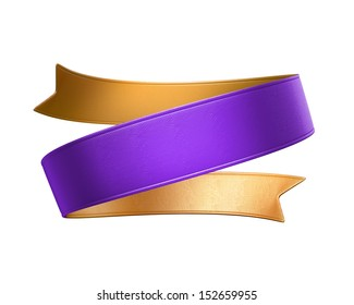 3d double sided festive ribbon tag, isolated object